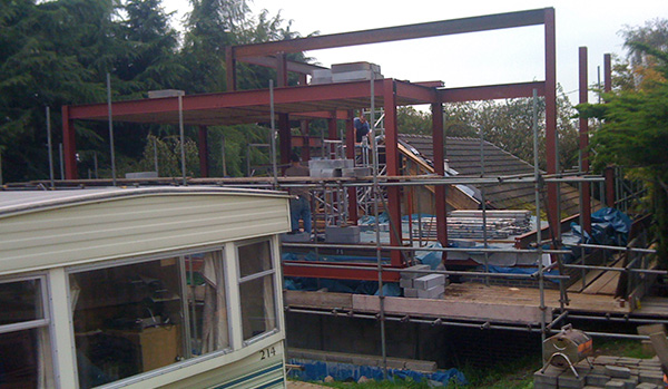steel frame added to building