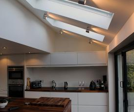 kitchen interioir; floating stairs